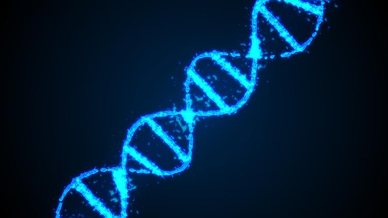 Abstract digital 3d illustration human DNA strand
